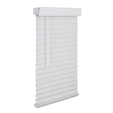 "2"" Cordless Faux Wood Blind - Smooth White"