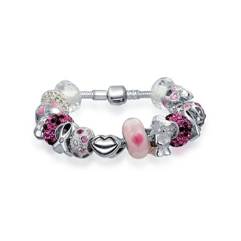Breast Cancer Survivor Heart Pink Ribbon Themed European Bead Charm Bracelet For Women 925 Sterling Silver Barrel Clasp
