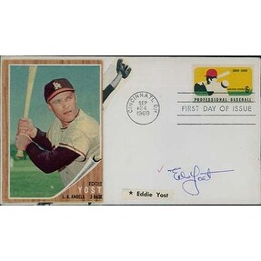 Signed Yost Ed Cachet stamped Cincinnati OH 92469 with baseball card glued on the left hand side of