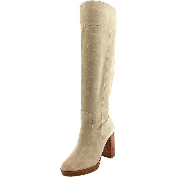 Michael Michael Kors Regina Platform Boot Women Suede Tan Knee High Boot