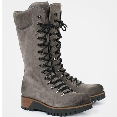 Lace-Up Mid-Tube Women's Leather Boots