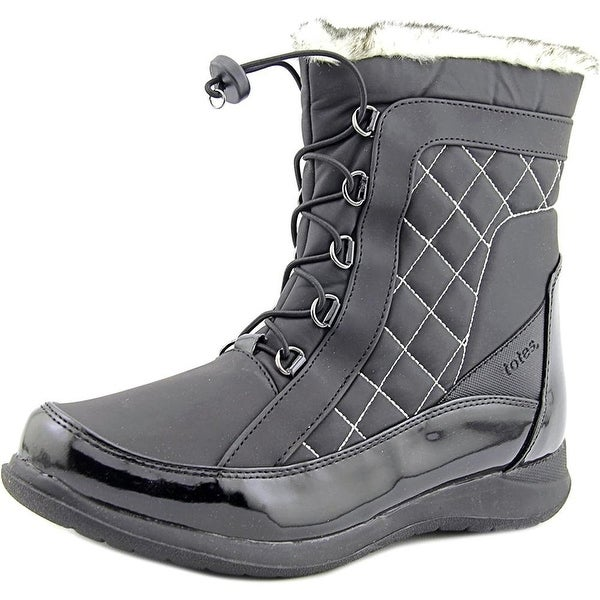 totes Lisa Women Round Toe Synthetic Black Snow Boot - 10