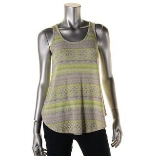 Aqua Womens Ribbed Knit Pattern Tank Top - S