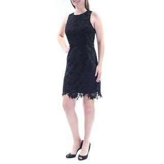 KENSIE $99 Womens New 1443 Black Lace Sleeveless Jewel Neck Sheath Dress M B+B