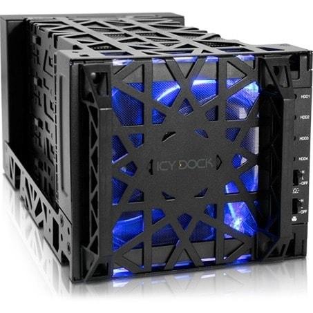 """Icy Dock MB174U3S-4SB Icy Dock Black Vortex MB174U3S-4SB Drive Enclosure External - Black - 4 x Total Bay - 4 x 3.5"" Bay -"