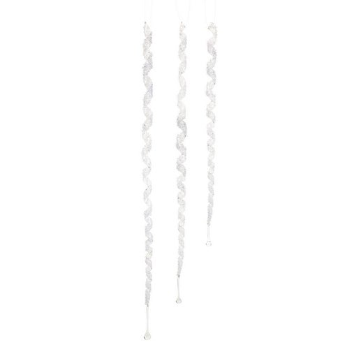 """Pack of 12 Spiral Glitter Drop Icicle Christmas Ornaments 26""""-45.5"""""""