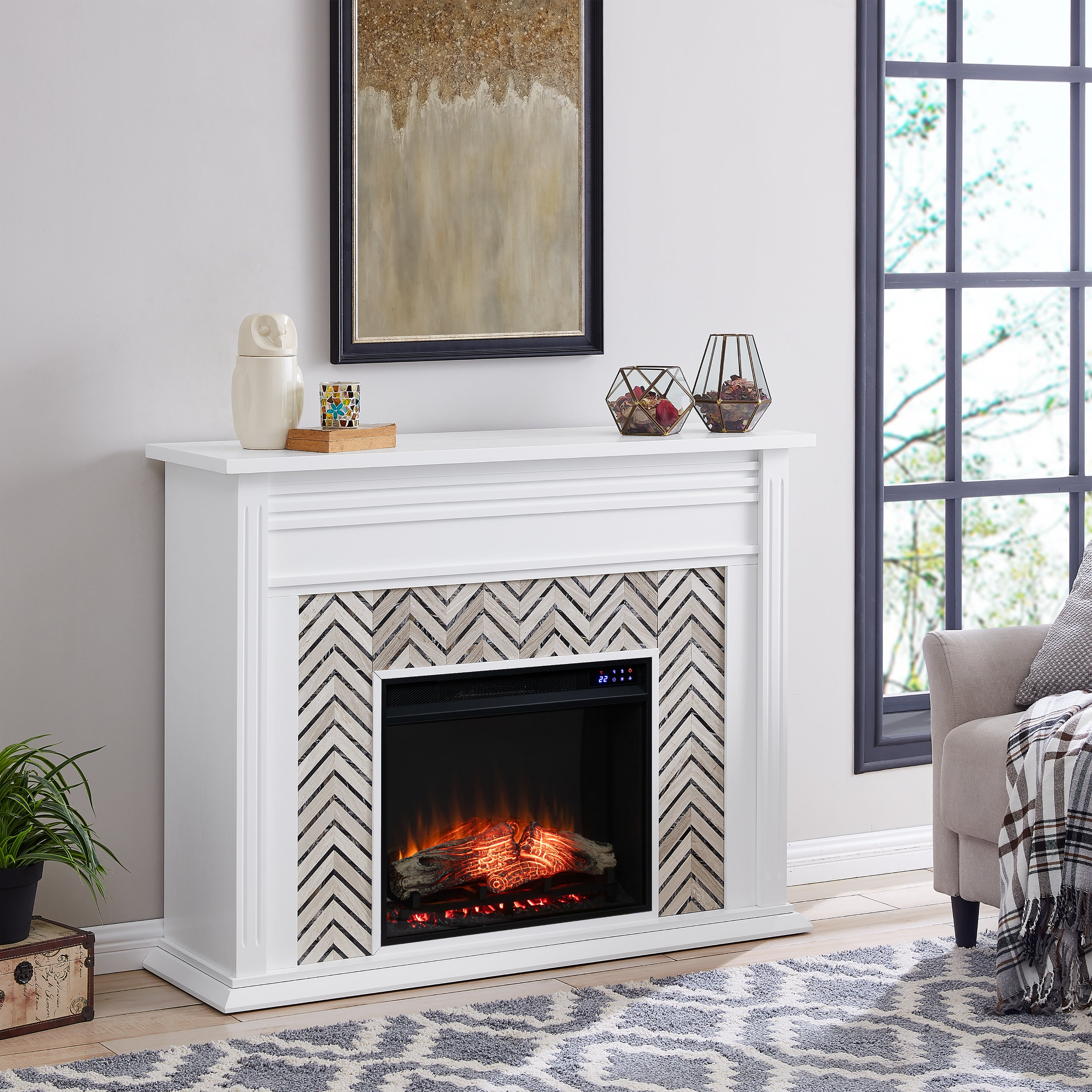 Heidi Contemporary White With Marble Electric Fireplace Overstock 29236310 White W Brick Accent Firebox