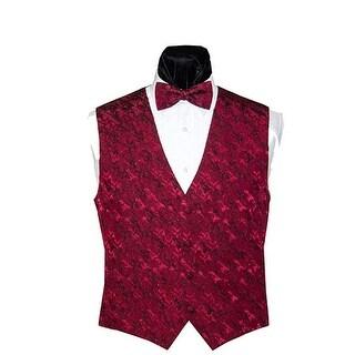 Merlot Crepe Vest and Bow Tie
