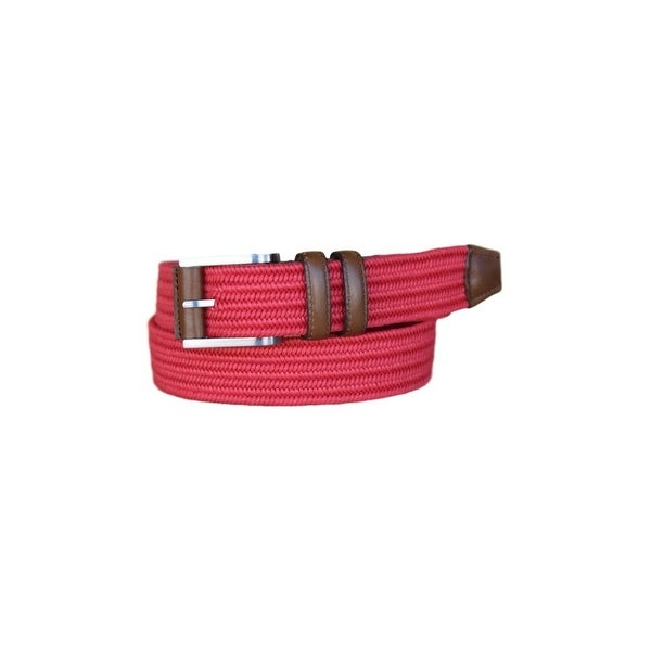 Lejon Belt Mens Charter Cotton Leather Strap Red