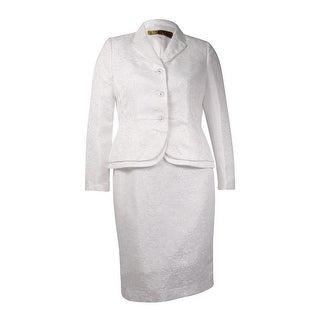 Kasper Women's Floral Jacquard Double Hem Skirt Suit (8, Vanilla Ice) - Vanilla Ice - 8