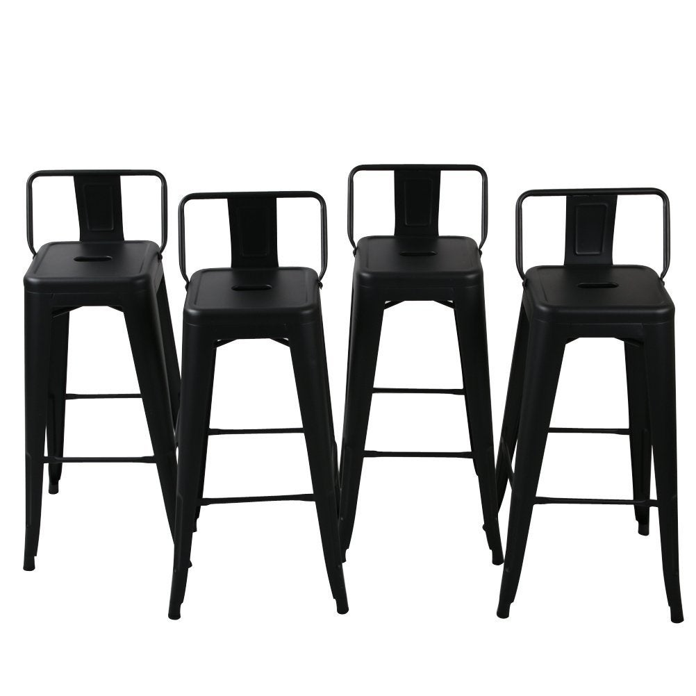 Belleze 30 Inch Barstools Black Bar Stools Low Back Set Of 4