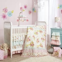 Lambs & Ivy Sweet Spring Pink/White Garden Floral Nursery 7-Piece Baby Crib Bedding Set