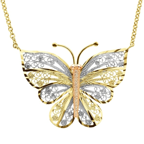Eternity Gold Filigree Butterfly Necklace in 10K Two-Tone Gold