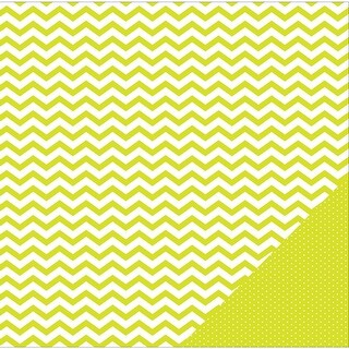 """American Crafts Basics Double-Sided Cardstock 12""""X12""""-Lime Chevron"""