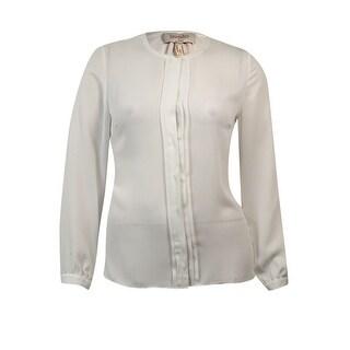 Laundry by Shelli Segal Women's Pleated Buttoned Chiffon Blouse