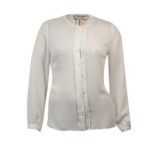 Laundry by Shelli Segal Women's Pleated Buttoned Chiffon Blouse - Warm White - 16
