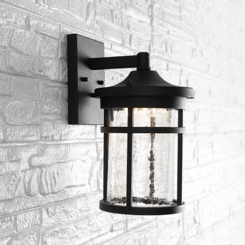 """8"""" Outdoor Wall Lantern Metal Integrated Sconce, Black by JONATHAN Y"""