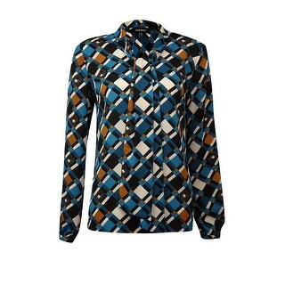 Nine West Women's Tie Neck Geometric Print Blouse - lagoon multi