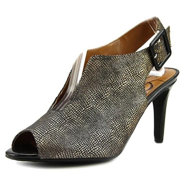 J. Renee Myra Women Peep-Toe Suede Bronze Slingback Heel