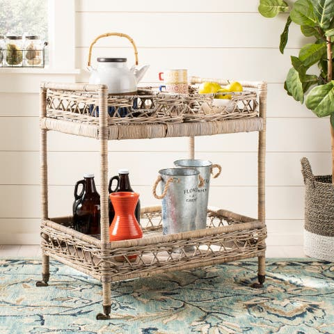 "Safavieh Ambrose 2-tier Rattan Bar Cart - 30.3"" x 28.7"" x 18.3"""
