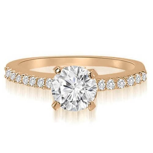 0.70 cttw. 14K Rose Gold Round Cut Diamond Engagement Ring
