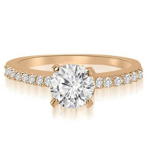 0.95 cttw. 14K Rose Gold Round Cut Diamond Engagement Ring