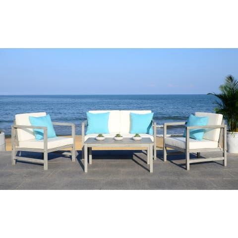 SAFAVIEH Outdoor Montez 4-Piece Conversation Set with Accent Pillows