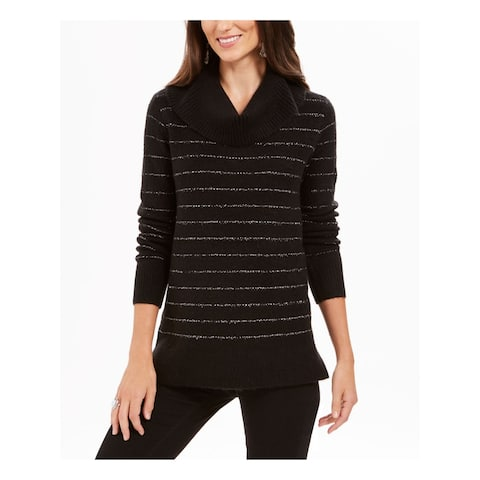 STYLE & COMPANY Womens Black 3/4 Sleeve V Neck Sweater Size XL