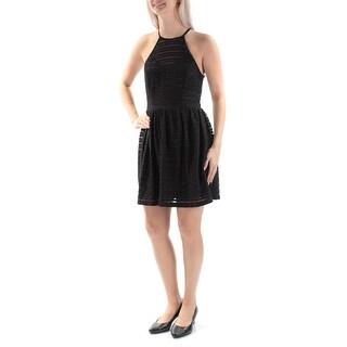 TRIXXI Womens New 2034 Black Textured Sleeveless Fit + Flare Dress 3 Juniors B+B
