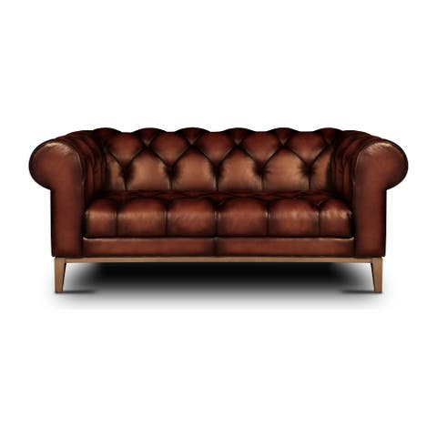 Gaga Top Grain Leather Tufted Chesterfield Loveseat