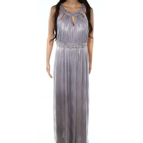 Jessica Howard Silver Womens Size 14 Metallic Beaded Sheath Dress