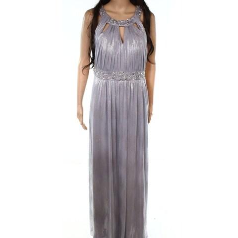Jessica Howard Silver Womens Size 14 Metallic Cut Out Sheath Dress