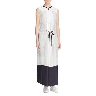 DKNY Womens Maxi Dress Silk Printed