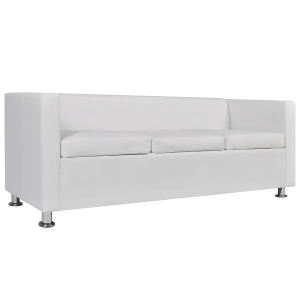 Cool Shop Vidaxl Sofa 3 Seater W 2 Pillows Modern White Pabps2019 Chair Design Images Pabps2019Com