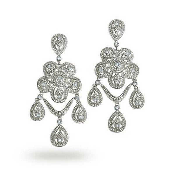 e1485b77dc0 Shop Vintage Style Flower Triple Tear Drop Cubic Zirconia Pave CZ Bridal Chandelier  Earrings Silver Tone Rhodium Plated Brass - On Sale - Free Shipping ...