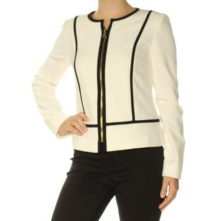 Womens Ivory Wear To Work Zip Up Jacket Size 0