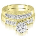 2.10 cttw. 14K Yellow Gold Princess and Round Cut Diamond Bridal Set - Thumbnail 0