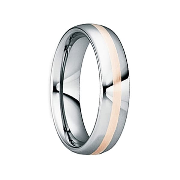 CYPRIANUS 18K Rose Gold Inlaid Tungsten Wedding Band by Crown Ring - 8mm