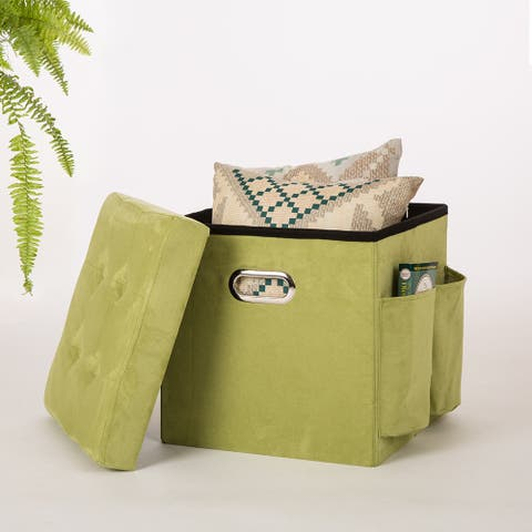 Glitzhome Cube Faux Suede Foldable Storage Ottoman with Padded Seat