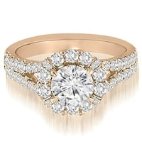 1.70 cttw. 14K Rose Gold Halo Split-Shank Diamond Engagement Ring