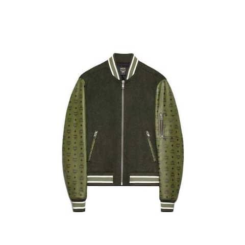MCM Men's Green Wool With Leather Sleeves Bomber Jacket MHJ9AMM03ED050 (50 EU / 40 US) - 50 EU / 40 US