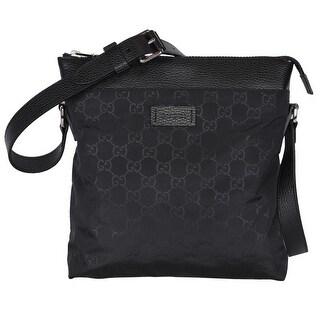 """Gucci 510342 Black Nylon Leather GG Guccissima Crossbody Messenger Purse Bag - 10"""" x 11"""" x 2.5"""""""
