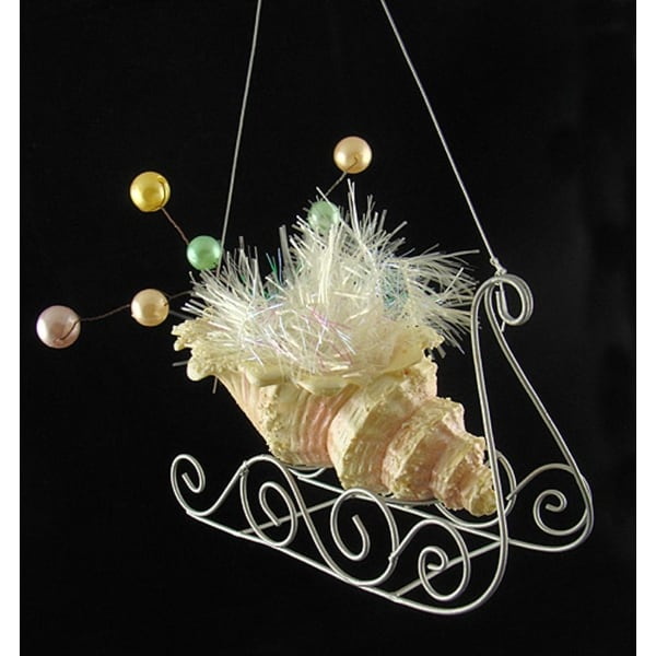 Seashell Sleigh With Pearls & Tinsel Christmas Ornament - WHITE