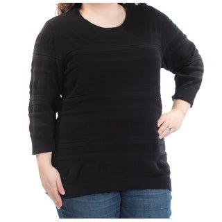 KAREN SCOTT Womens New 1432 Black 3/4 Sleeve Jewel Neck Casual Top 2X Plus B+B