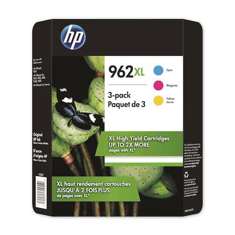 HP 962XL High Yield Colors 3 Pack Cyan Magenta Yellow Ink Cartridges 3JB36BN