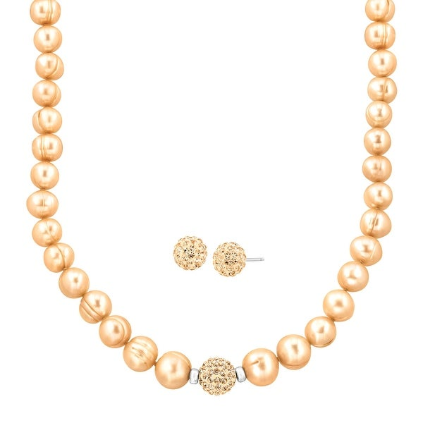 Crystaluxe Ringed Freshwater Pearl Necklace & Earring Set with Swarovski elements Crystals in Sterling Silver