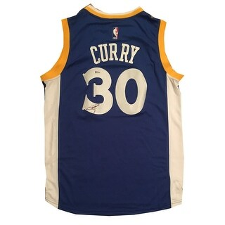 Stephen Curry Autographed Warriors Signed Blue Jersey Beckett BAS COA 5