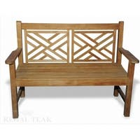 """48"""" Natural Teak Plantation Grown Solid Wood Outdoor Patio Double Seat Bench - Brown"""
