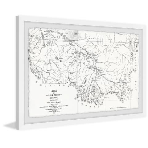 'Map of Pitkin County II' Framed Painting Print