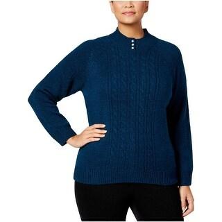 Karen Scott Womens Plus Pullover Sweater Marled Embellished